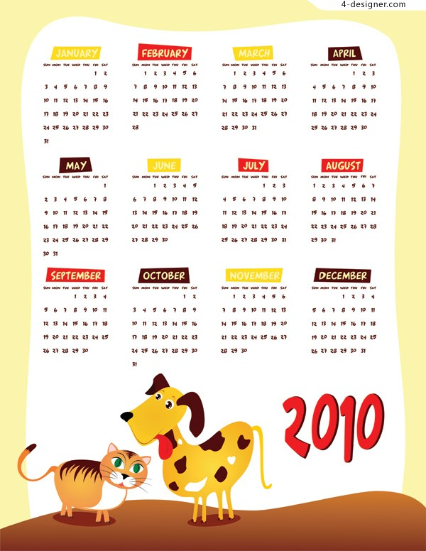 Cartoon style 2010 calendar vector material