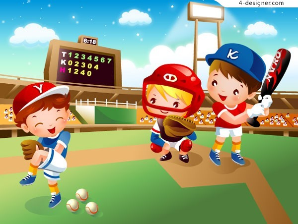 Children s cartoon baseball vector material
