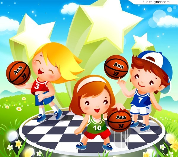 Children s cartoon basketball vector material