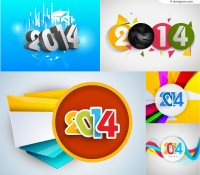 Colorful 2014 posters vector material