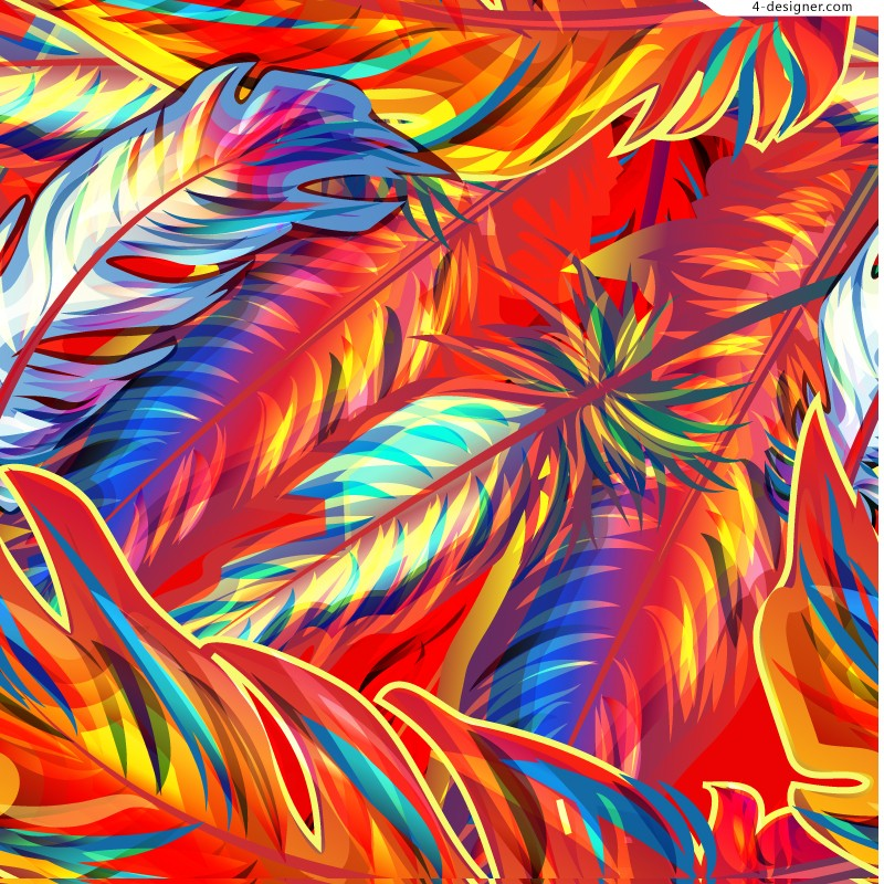 Colorful hand painted feather vector material