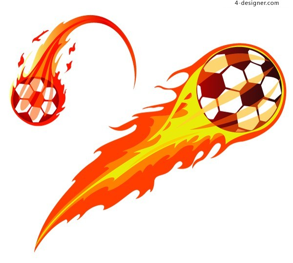 Cool flame football vector material