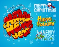 Creative Christmas pop font design vector material