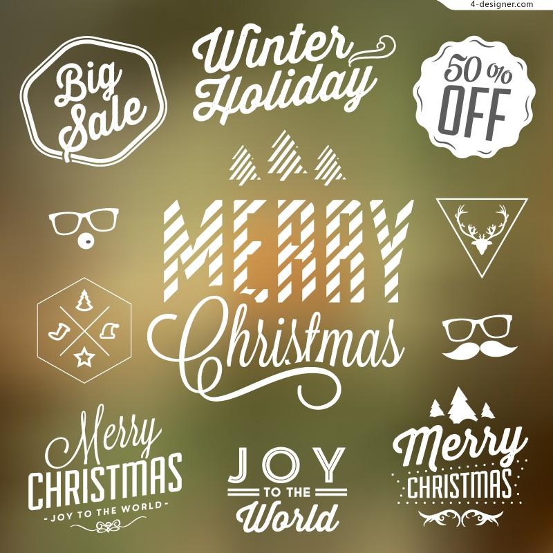 Creative Christmas sales tag vector material