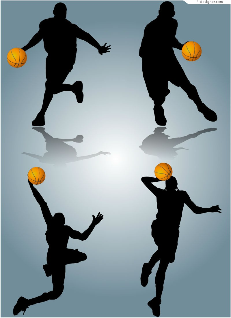 Dynamic basketball silhouettes vector material