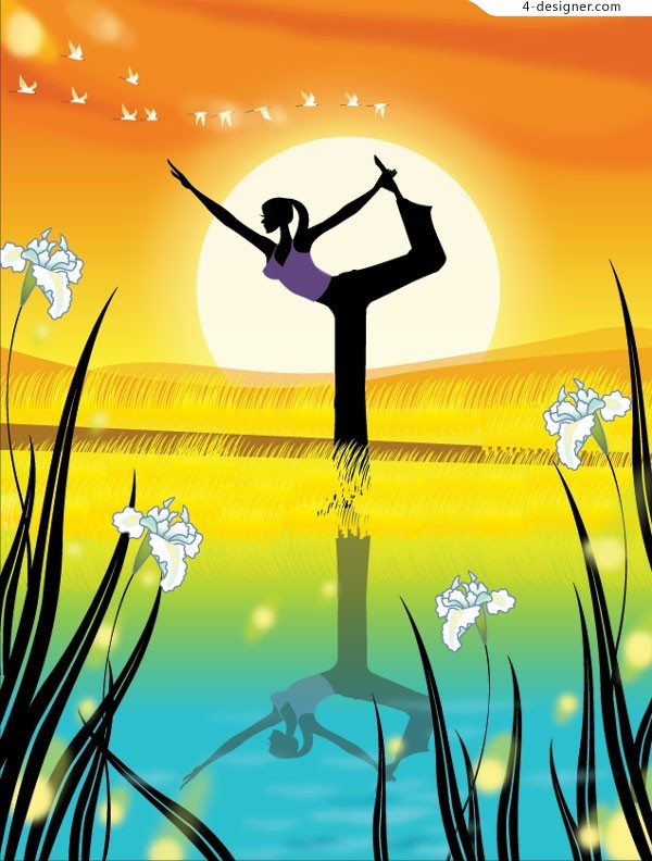 Early morning outdoor yoga fashion girl vector material