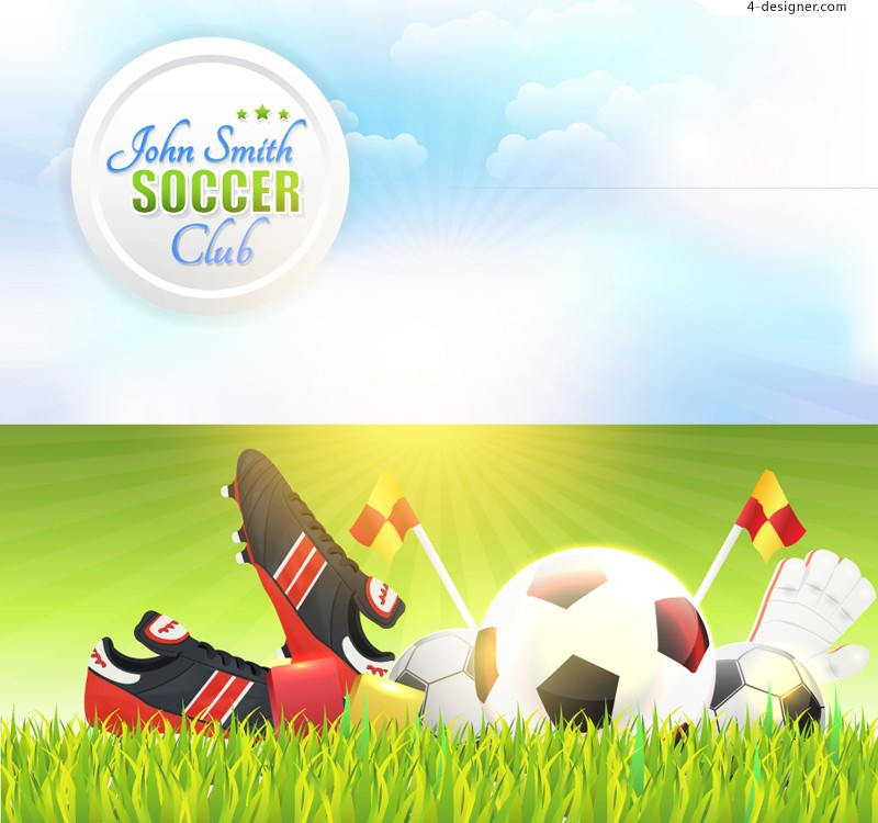 Exquisite football poster vector material