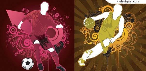 Football and basketball illustrator vector material