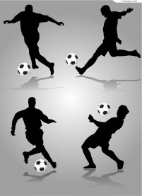Football silhouettes vector material