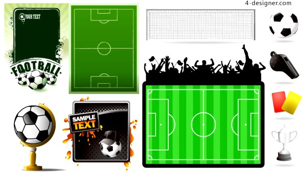 Football theme related elements vector material