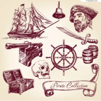 Hand painted pirate element vector material