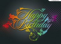 Happy Birthday WordArt color vector material