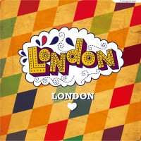 London retro poster vector material