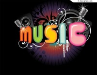 Music fashion WordArt vector material