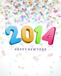 New Year 2014 colorful background vector material