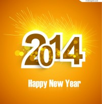Orange 2014 New Year poster vector material