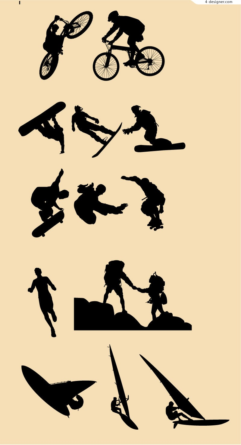 Outdoor sports silhouettes vector material