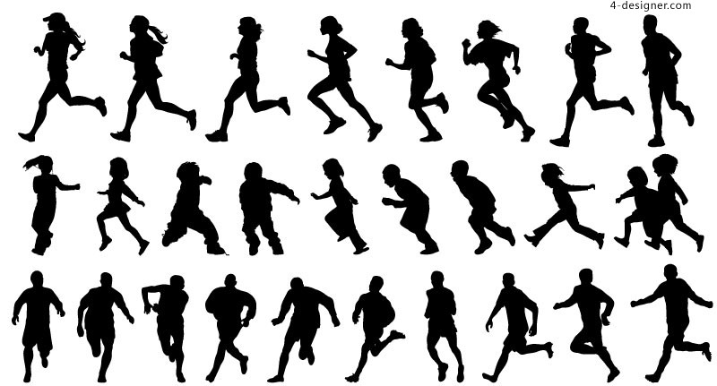 People running silhouette vector material