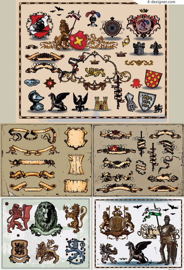 Personalized several ancient heraldic vector material