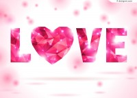 Pink diamonds LOVE WordArt vector material