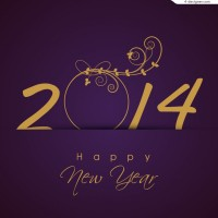 Purple 2014 New Year posters vector material