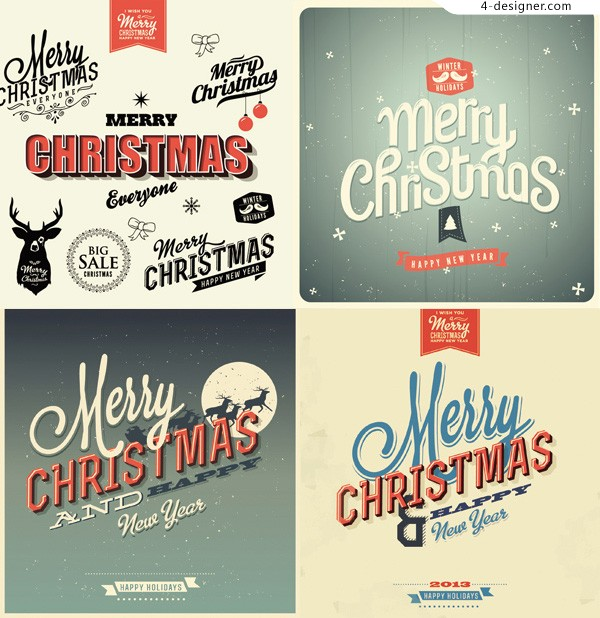 Merry Christmas Fonts Images.4 Designer Retro Christmas Font Vector Material