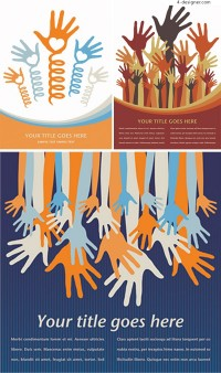 Several personalized hand theme vector material