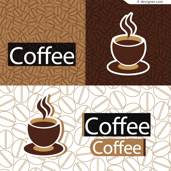 Several vector materials of coffee theme background