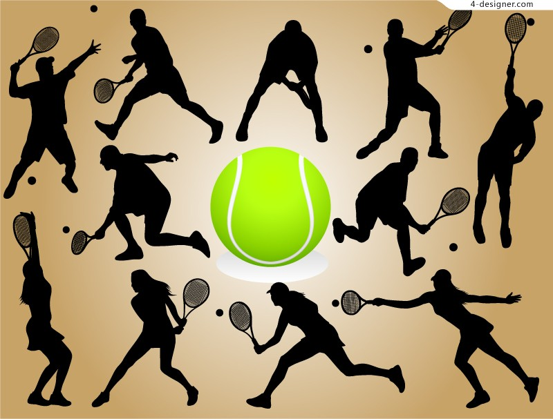 Tennis silhouette vector material