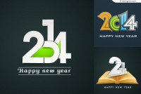 Three 2014 WordArt poster vector materials