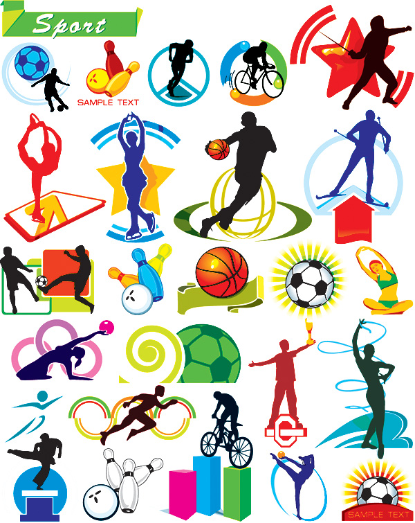 Various sports figures illustrator vector material
