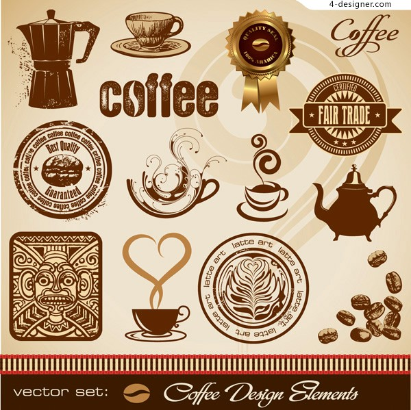 Various vector materials of coffee element with European style