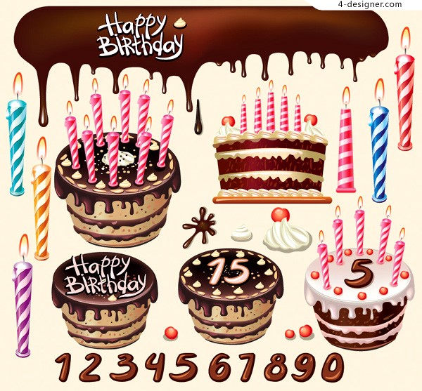 Various vector materials of tempting birthday cakes