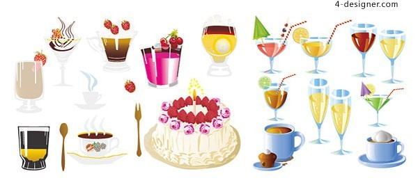 Various vector materials of tempting cakes and drinks