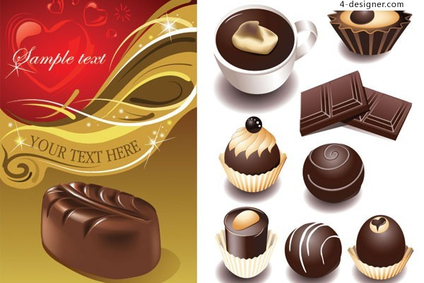 Various vector materials of tempting chocolate