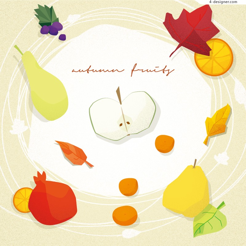 Vector material of Autumn fruits illustrator