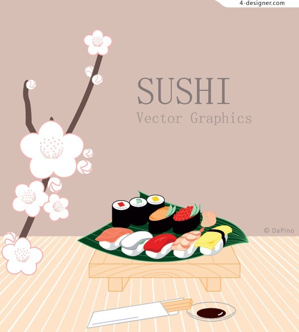 Vector material of Japanese style sushi