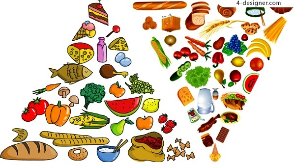 Vector material of Pyramid composed of a variety of foods