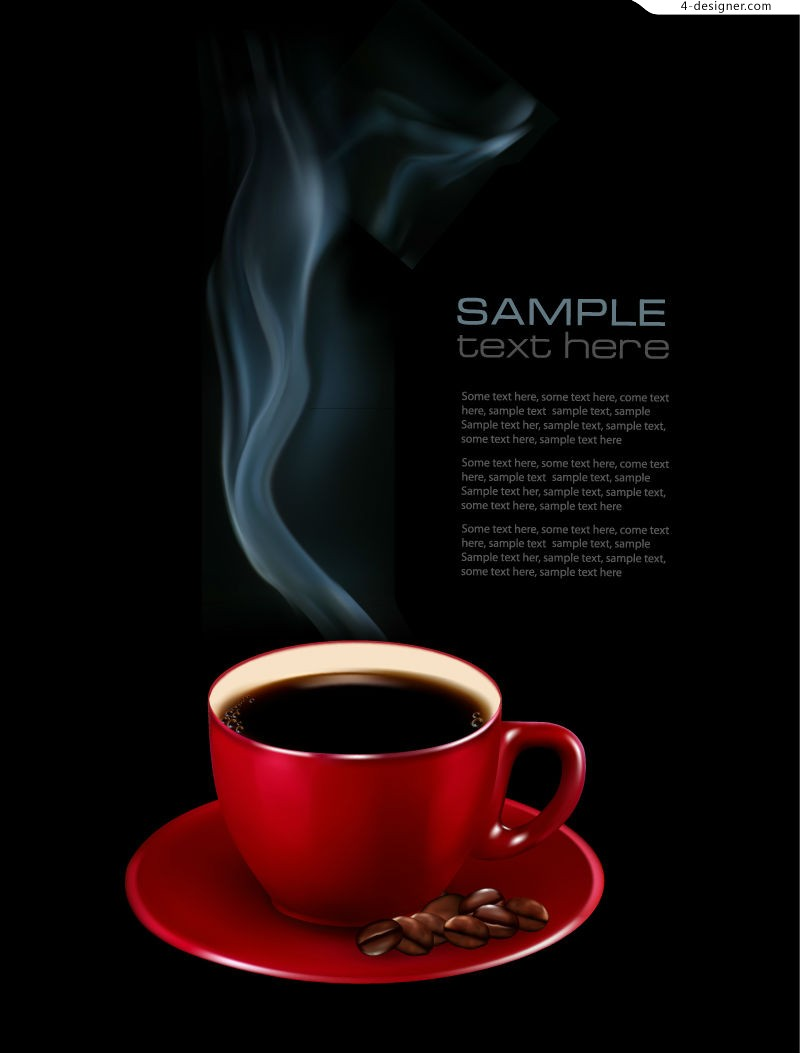 Vector material of beautiful hot coffee background