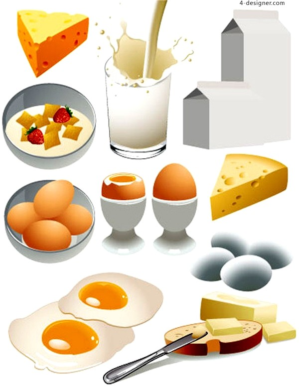 Vector material of breakfast with realistic style