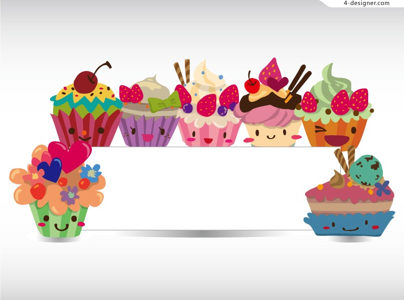 Vector material of bulletin board decorated with cartoon dessert