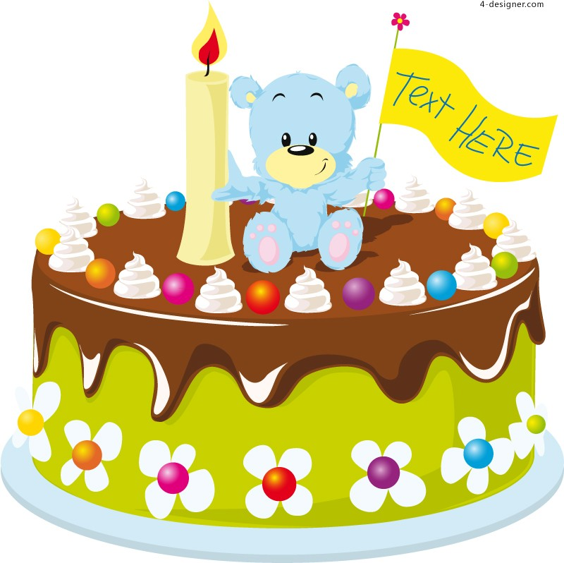 Vector material of cartoon bear birthday cake