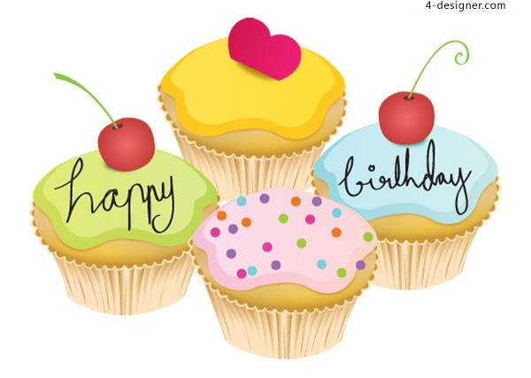 Vector material of cartoon birthday cupcakes of AI format