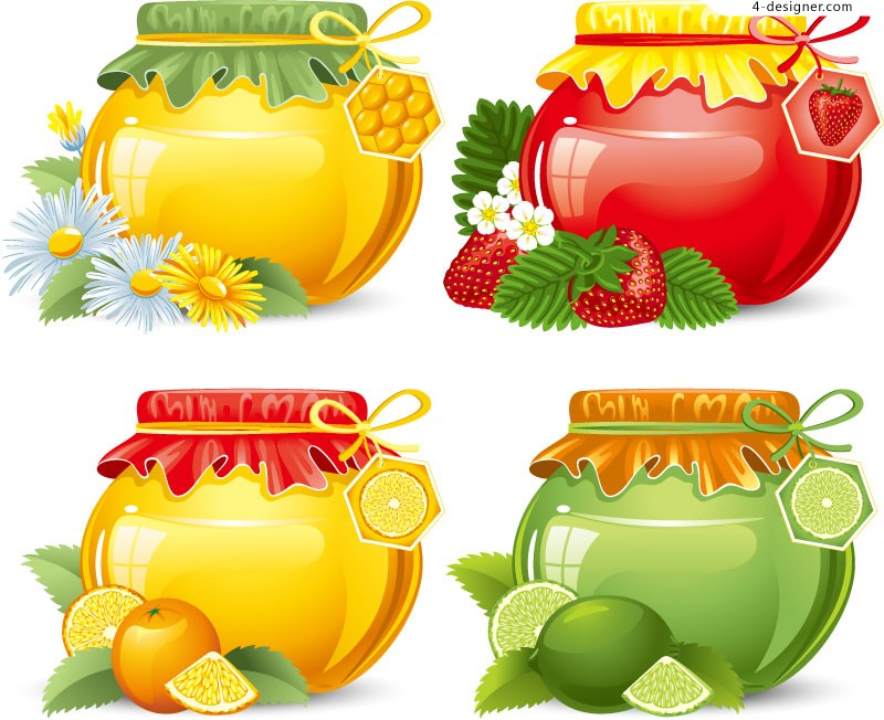Vector material of cartoon jar loaded jam