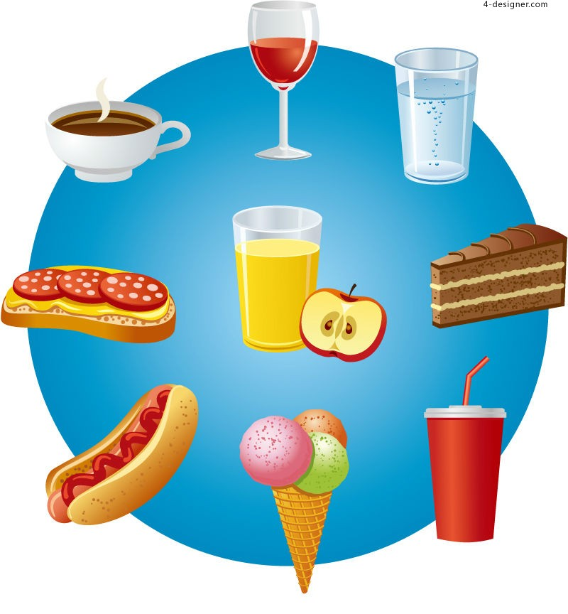 Vector material of cartoon snacks and drinks