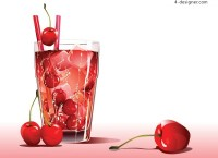Vector material of cherry cold drinks