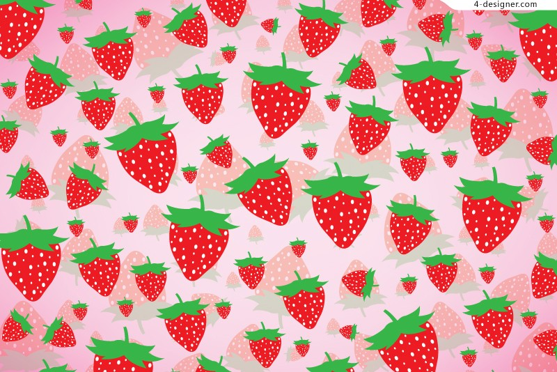 Vector material of childlike strawberry background