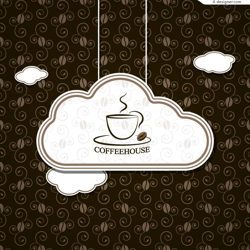 Vector material of cloud shaped coffee tag