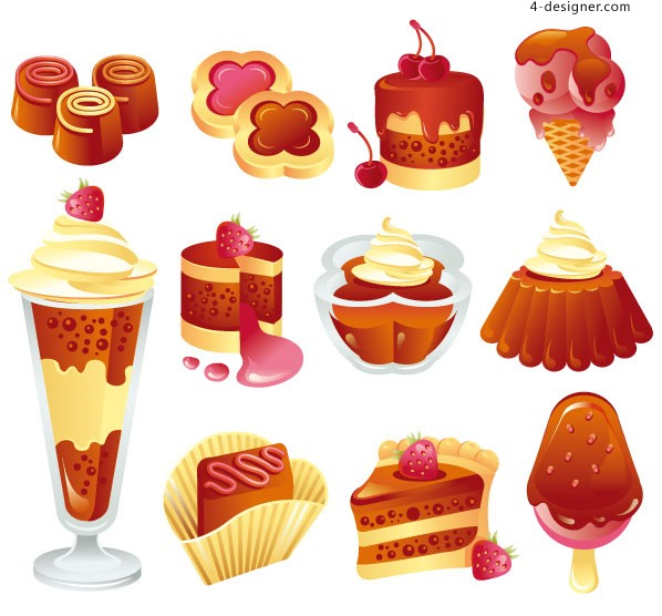 Vector material of cocoa butter dessert theme