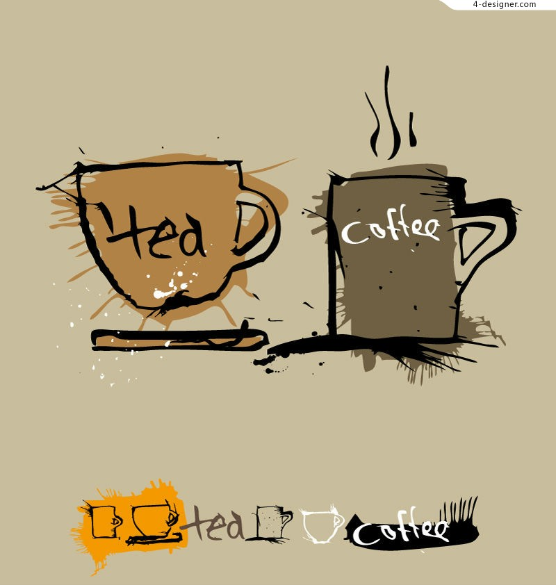 Vector material of coffee cup illustrator